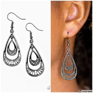 REIGNed Out - Gunmetal Teardrop Hook Earrings